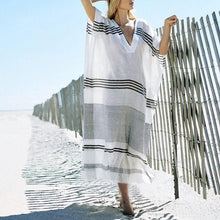 Load image into Gallery viewer, Bohemian Loose Stripe V Collar Maxi Beach Vacation  Dress