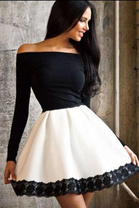 Sexy Off Shoulder Split Joint Lace Skater Dress