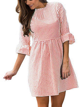 Load image into Gallery viewer, Striped Puff Sleeve Shift Dress