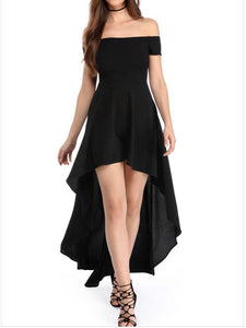 Sexy Off Shoulder Irregular Skater Dress