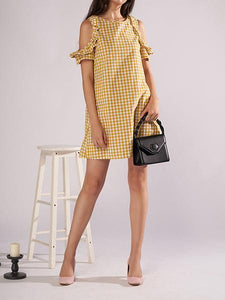 Women's New Round Neck Plaid Ruffled Off Shoulder Dress