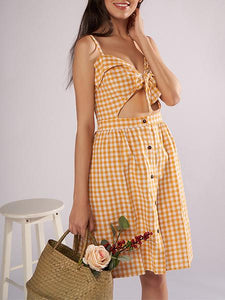Ladies New Strap Plaid Strapless Dress