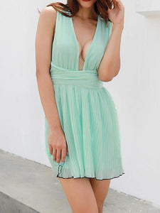 Ms. New Halter Deep V-Neck Halter Dress