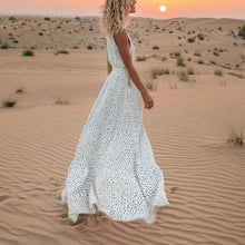 Load image into Gallery viewer, V-Neck Printed Polka Dot Bohemian Maxi Dress