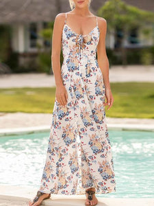 Bohemia Floral Bandage Backless Dresses