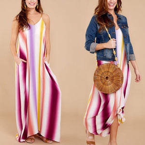 Fashion Floral Print Stripe Vacation Maxi Dress