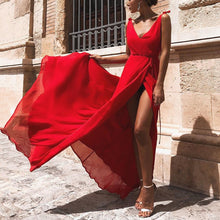 Load image into Gallery viewer, Red Elegant Sexy Vacation Maxi Dress