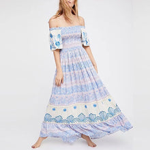 Load image into Gallery viewer, Bohemia Off Shoulder Floral Print Vacation Maxi Dress