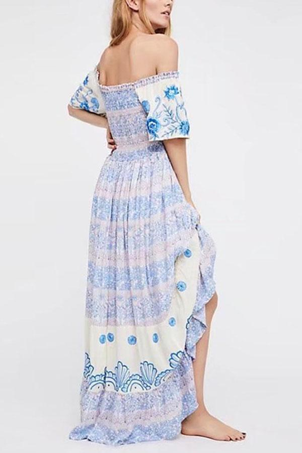 Bohemia Off Shoulder Floral Print Vacation Maxi Dress