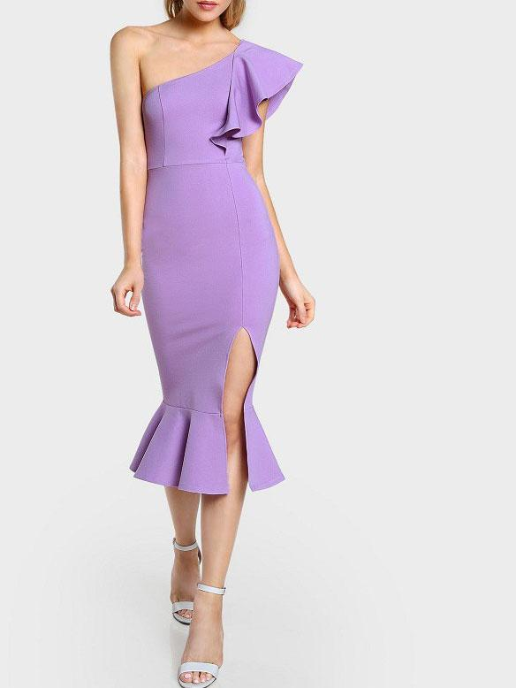 Sexy Slim Fit Flouncing Sloping Shoulder Bodycon Dress