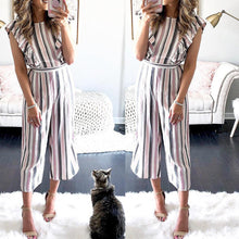 Load image into Gallery viewer, Fashion Striped Flutter Sleeves Wide Leg Jumpsuit