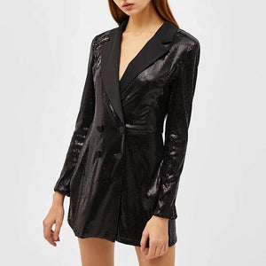 Fashion Casual Lapel Slim Long Sleeves Sequin Suit Coat