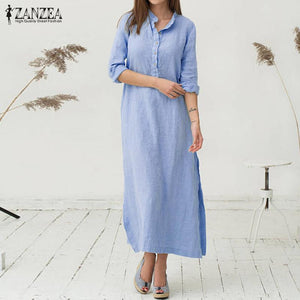 Womens Kaftan Long Sleeve Split Plain Cotton Maxi  Dress