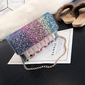 Sequined Chain Tassel Shoulder Bag