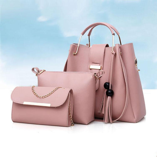PU Pure Color Tassel Three-Piece Bag