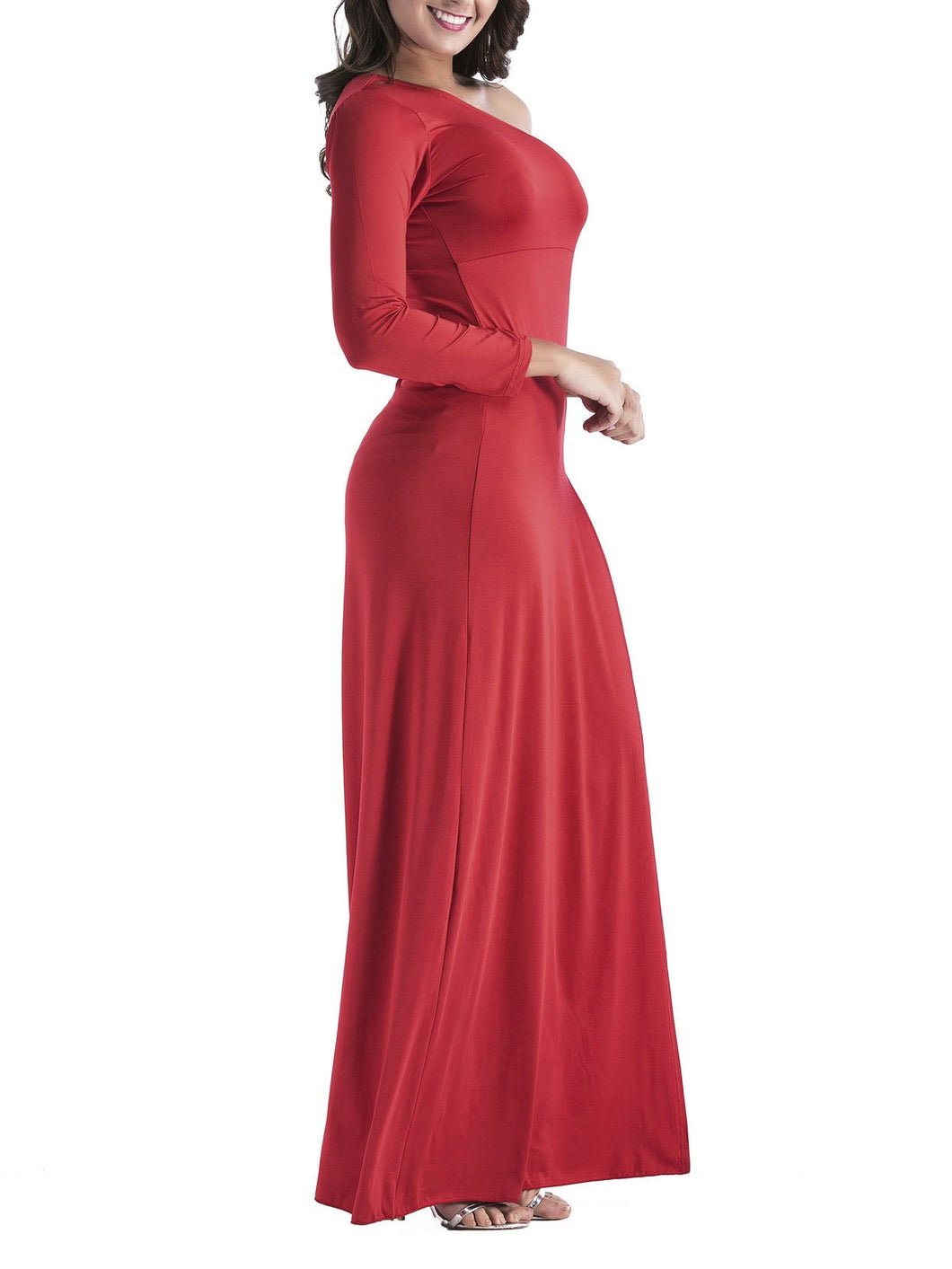 Sexy Sloping Shoulder Slit Maxi Dress