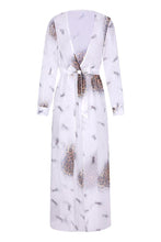 Load image into Gallery viewer, Deep V Neck  High Slit  Printed  Long Sleeve Maxi Dresses