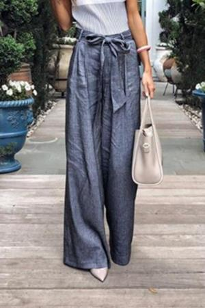 Solid Color Tie Wide Leg Pants