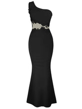 Load image into Gallery viewer, One Shoulder Decorative Lace Plain Mermaid Evening Dress