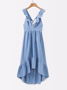 Summer Deep V Collar Backless Irregular Skater Dress