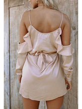 Load image into Gallery viewer, Sexy V Collar Off Shoulder Sling Real Silk Shift Dress