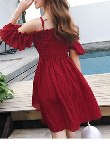 Summer Sexy Off Shoulder Defined Waist Skater Dress