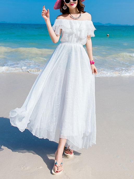 Summer Off Shoulder Chiffon Beach Maxi Dress
