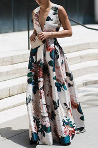Stylish Floral Print Sleeveless Maxi Dress