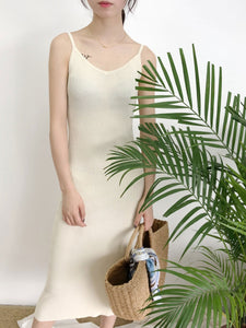 Fashion Slim Fit Knit Sling Maxi Dress