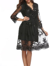 Load image into Gallery viewer, Sexy V Collar Lace Sequins Skater  Dress