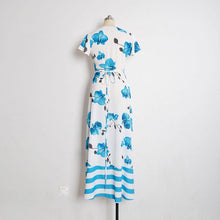Load image into Gallery viewer, Sexy V Collar Printing Short Sleeve Irregualr Beach Vacation Dress