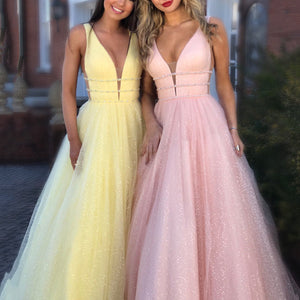Sexy V Neck Pink Chiffon Wedding Maxi Dress