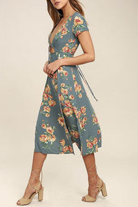 Sexy Deep V Collar Floral Printed Slit Maxi Dress
