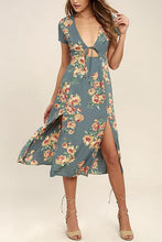 Load image into Gallery viewer, Sexy Deep V Collar Floral Printed Slit Maxi Dress