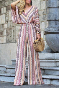 Fashion Long Sleeves Stripe Floral Print Jumpsuit