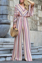 Load image into Gallery viewer, Fashion Long Sleeves Stripe Floral Print Jumpsuit