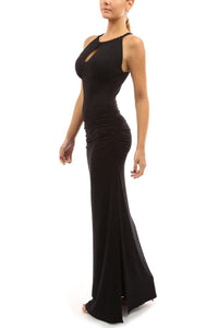 Fashion Backless Halter Plain Beading Maxi Dress