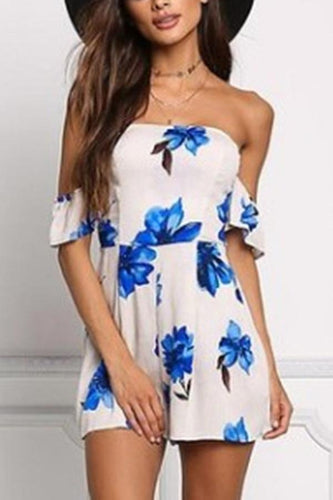 Sexy Off Shoulder Floral Print Rompers
