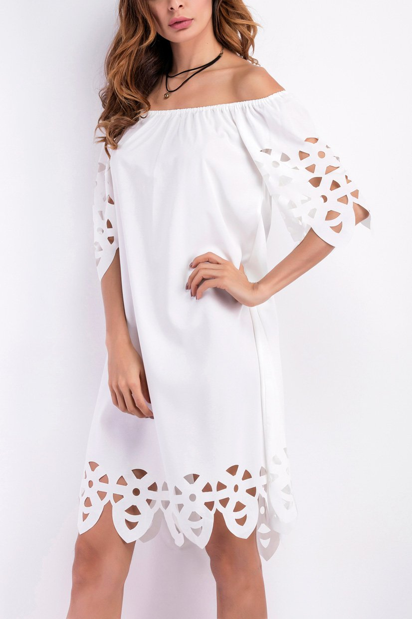 Fashion Off Shoulder Hollow Out Shift Dress