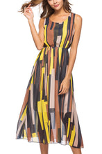 Load image into Gallery viewer, Fashion Bohemia Striped Defined Waist Maxi Dress