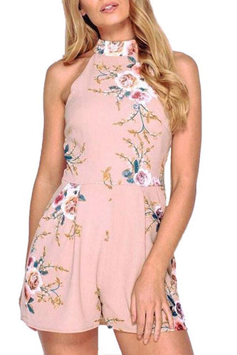Stylish Halter Neck Floral Print Rompers