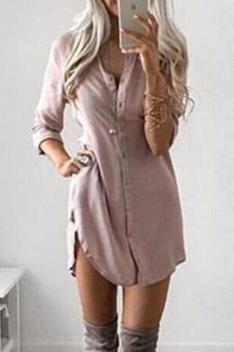 Split Neck  Plain Shift Dress