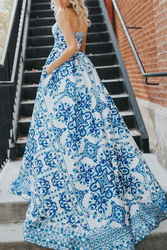 Fashion Off Shoulder Blue Floral Printed Maxi Dress