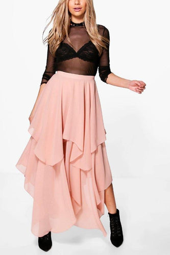 Fashion Irregular Plain Chiffon Maxi Skirt Dress