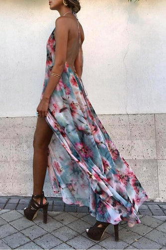 Sexy Floral Print Backless Sleeveless Maxi Dress