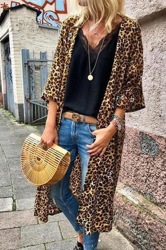 Round Neck  Long Sleelve Leopard Printed Cardigan