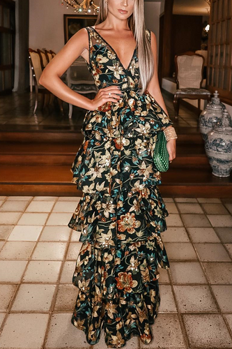 Sexy Deep V Collar Flouncing Floral Printed Maxi Dress