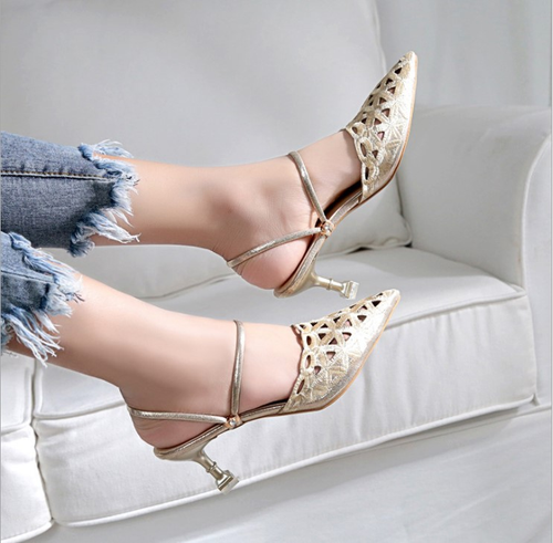 Fashionable Openwork  Versatile Pointed Stiletto Sandals