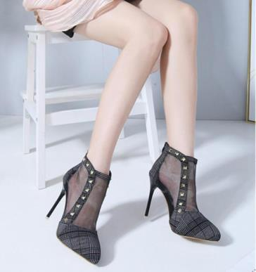 Sexy Plain Transparent Rivet Mules High Heel Shoe
