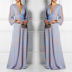 Sexy  V Neck Long Sleeves Maxi Dress